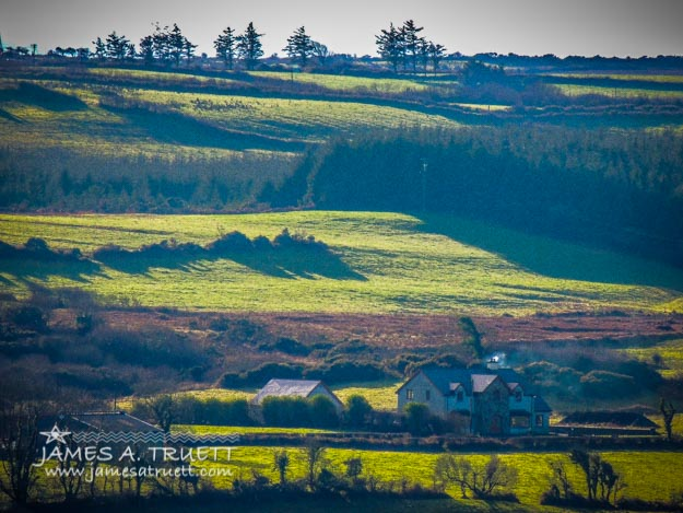 Morning shadows over Irish Countryside