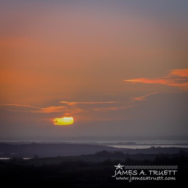 Irish Sunrise Scattering Light over Shannon River Valley