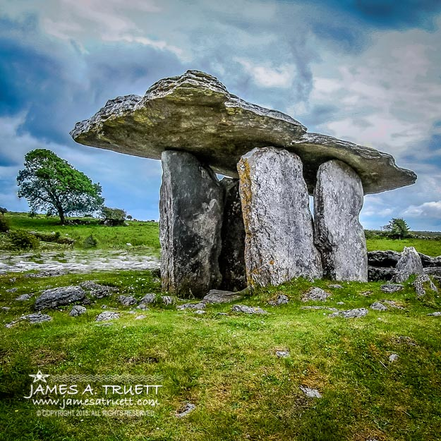 Ireland's Mysterious Ancient Poulnabrone Dolmen in the rugged Burren region of County Clare.