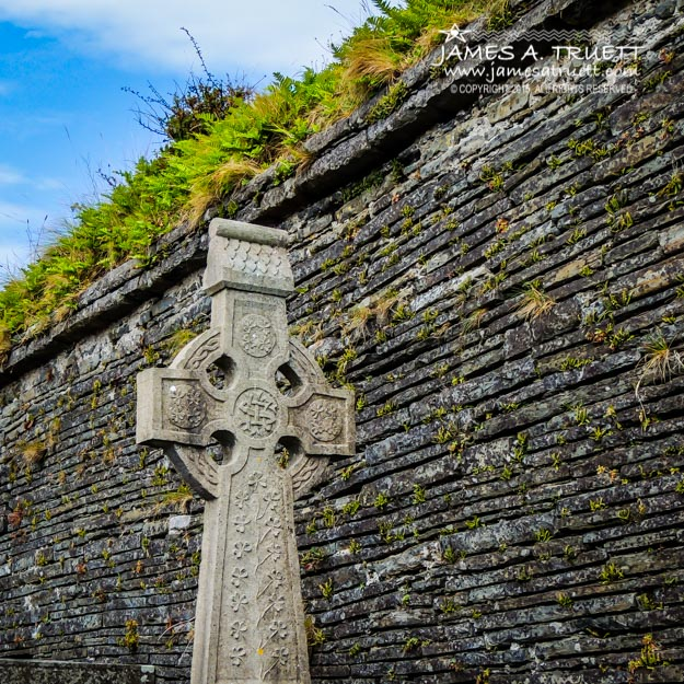 Celtic Cross at Kilmurry-Ibrickan Church near Quilty in County Clare, Ireland.