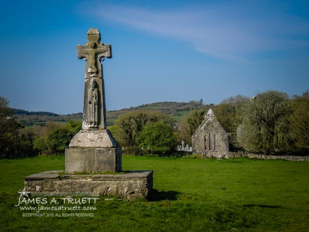 12th Century High Cross and Romanesque Church Ruins in County Clare