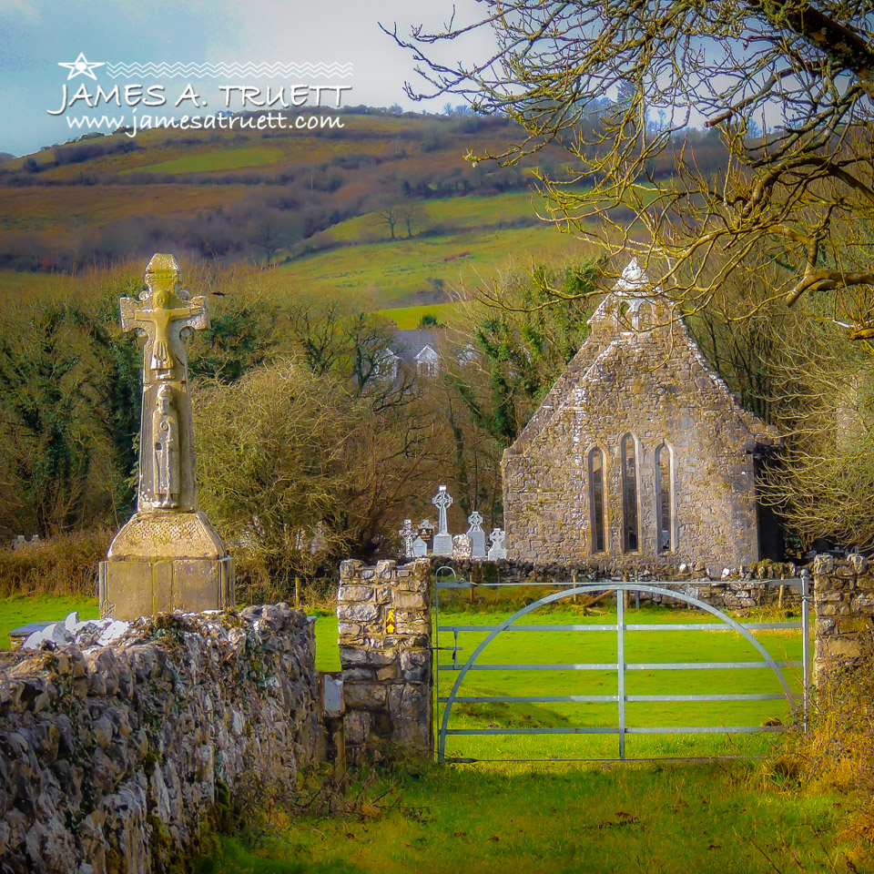 12th Century High Cross and Romanesque Church Ruins in Ireland's