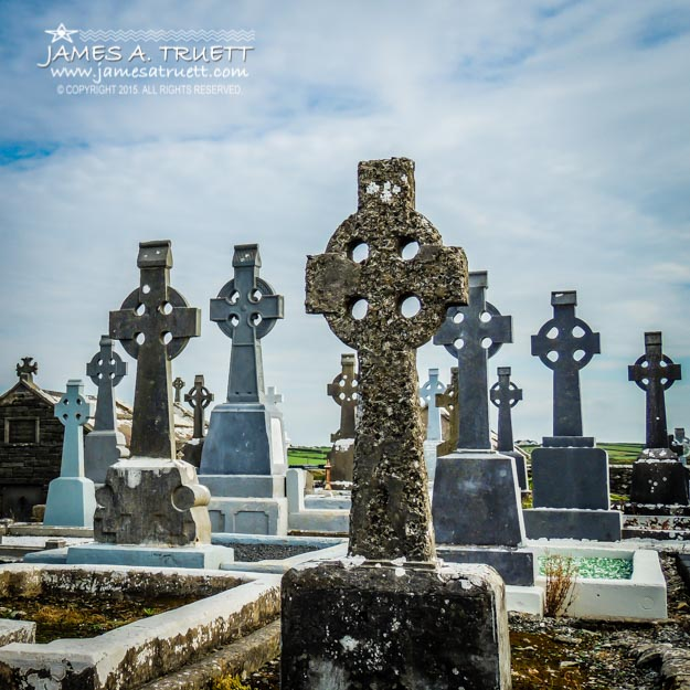 Sea of Celtic Crosses in a County Clare Graveyard.
