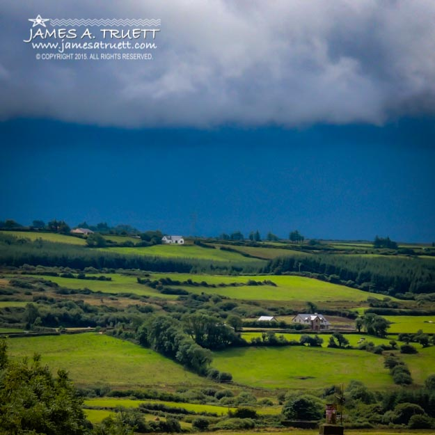 Clouds over Shimmering Green Irish Countryside