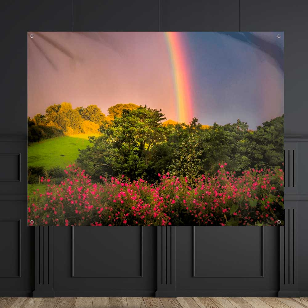 Rainbow Wildflowers Wall Tapestry