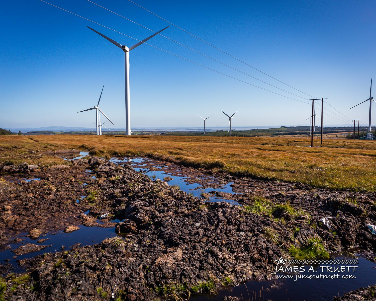 Boolynagleragh Bog and wind farm above Lissycasey in County Clare.